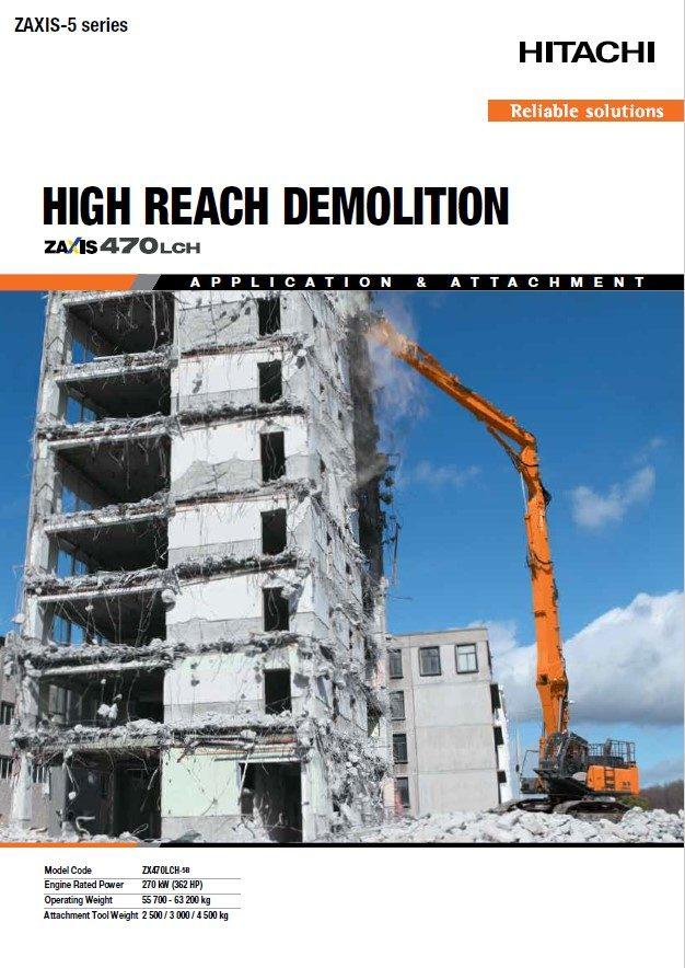 Catálogo de Escavadoras de demolição ZX470